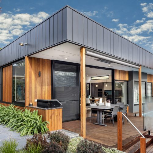 built in BBQ silvertop ash timber cladding